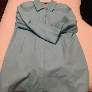 Spring coat knee length blue. Repels rain